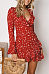 Deep V Neck  Dot  Bell Sleeve  Long Sleeve Casual Dresses