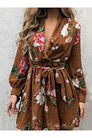 Deep V Neck  Print  Long Sleeve Skater Dresses