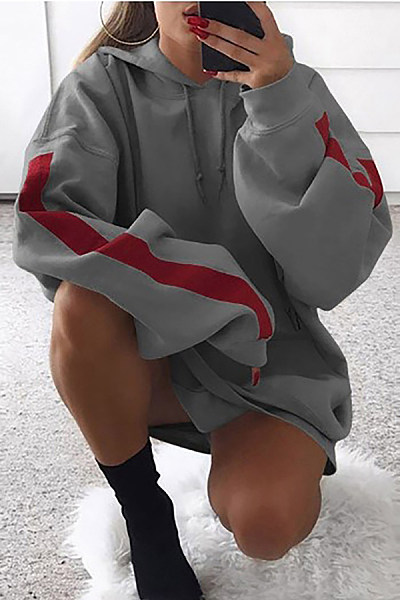Hooded  Drawstring  Contrast Stitching  Stripes Hoodies