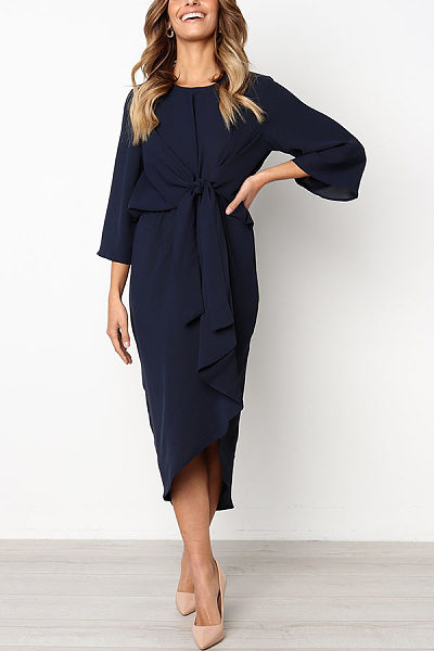 Round Neck  Asymmetric Hem  Plain  Long Sleeve Maxi Dresses