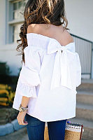 Off Shoulder Backless Plain T-Shirts