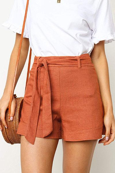 Belt  Plain  Casual  Pants