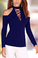 High Neck Open Shoulder  Lace Up  Plain T-Shirts