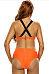 X-Back Crew Neck  Contrast Trim  Printed Bikini