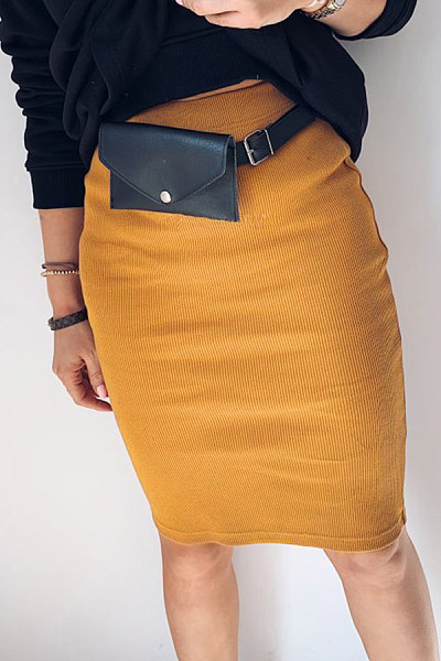 European And American Style High-Waist Pure Color Patchwork Skirt