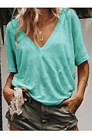 V Neck Short Sleeve Plain Basic T-Shirts