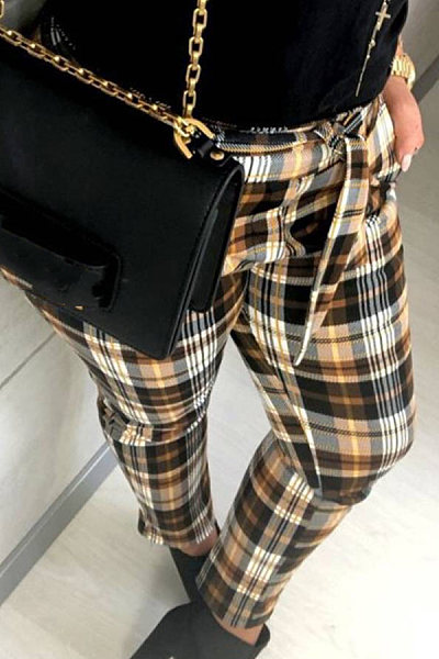 Long  Basic  Checkered  Pants
