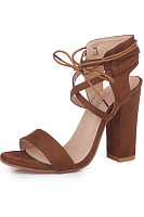 High Heeled Chunky Plain Sandals