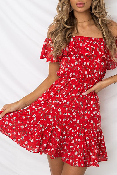 Off-The-Shoulder Floral Print Ruffled Dress