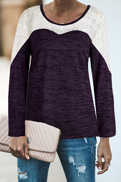Round Neck  Decorative Lace  Assorted Colors T-Shirts