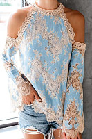 Halter  Patchwork  Lace  Bell Sleeve  Blouses
