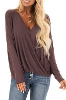 V Neck Pleated Long Sleeve Plain T-Shirts