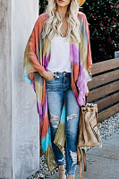 Collarless  Ikat  Batwing Sleeve Cardigans