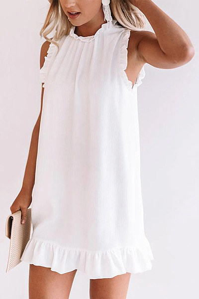 Elegant Ruffled Sleeveless Pure Colour Splicing Pleated Dress