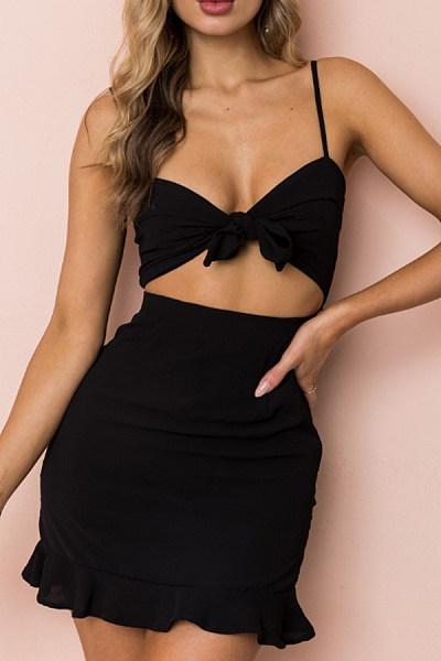 Spaghetti Strap  Flounce  Plain  Sleeveless Bodycon Dresses