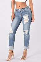 Casual Hole Elastic Feet Jeans