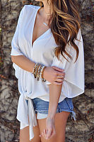 Deep V Neck  Asymmetric Hem  Plain  Blouses