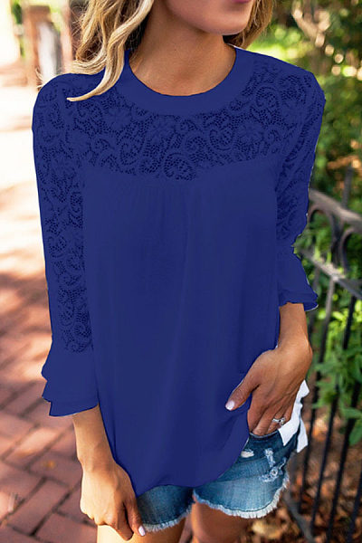 Round Neck  Flounce Patchwork  Hollow Out Blouses