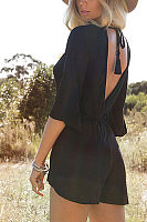 Halter  Backless  Back Hole  Plain  Three Quarter Sleeve  Playsuits