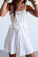 Sling Lace Stitching Ruffled Dress