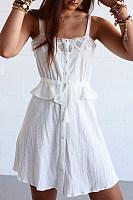 Sling Lace Stitching Ruffled Dress