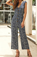 Leisure Broken Flower V Collar Jumpsuit