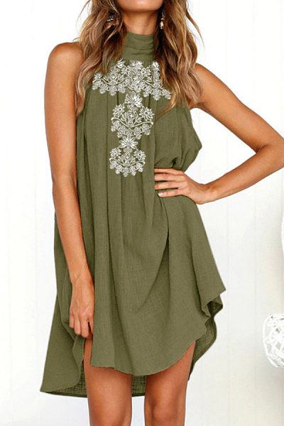 High Neck  Printed  Sleeveless Casual Dresses