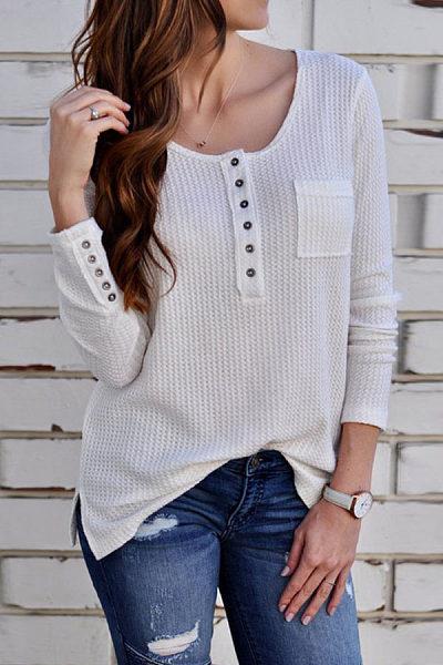 Round Neck  Single Breasted  Plain T-Shirts