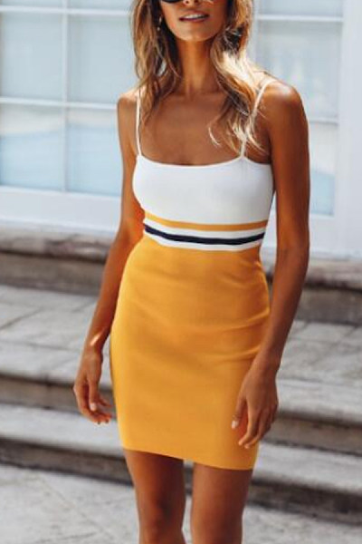 Spaghetti Strap  Backless  Patchwork  Sleeveless Bodycon Dresses