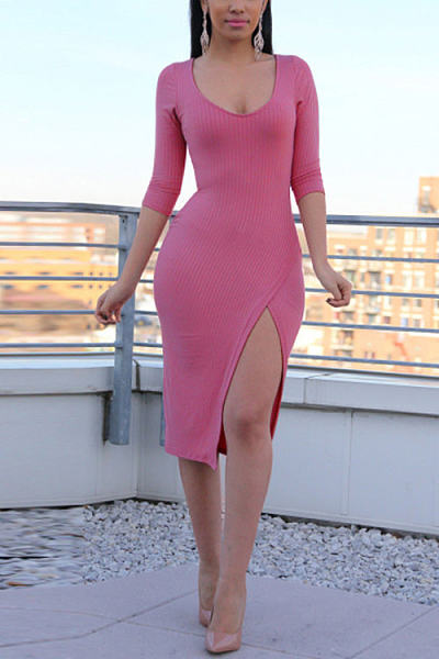 Pink Round Neck 3/4 Length Sleeves Splited Hem Midi Dress