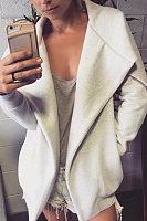 Lapel  Snap Front  Plain Outerwear