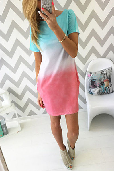 Round Neck  Color Block Gradient  Short Sleeve Casual Dresses