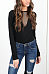 V Neck  Backless  Hollow Out Plain T-Shirts