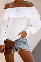 Fashion Word Collar Long Sleeve Solid Color Shirt