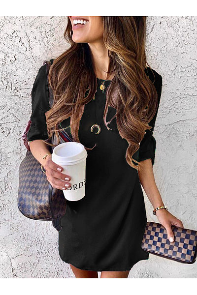 Round Neck Half Sleeve Casual Dresses