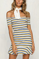 Off Shoulder  Striped  Short Sleeve Bodycon Dresses