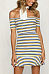 Off Shoulder  Striped  Short Sleeve Bodycon Dresses