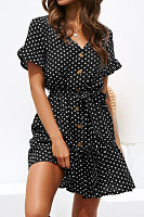 V Neck  Single Breasted  Dot Skater Dresses