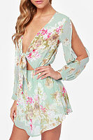 Deep V Neck  Cutout Elastic Waist  Floral Printed Casual Dresses