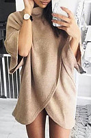 High Neck  Asymmetric Hem  Plain Sweaters