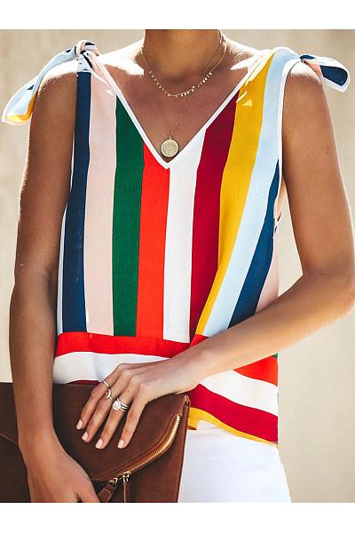 Daily Chiffon Color Stripe Frenulum Sleeveless Garment