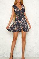 Deep V Neck  Belt  Floral Printed  Sleeveless Skater Dresses