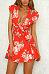 Deep V Neck  Floral Printed  Extra Short Sleeve Skater Dresses