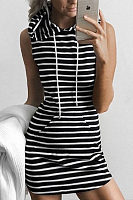 Hooded  Drawstring Kangaroo Pocket  Sleeveless Bodycon Dresses