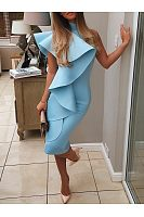Sexy Halter One Shoulder Flouncing Bodycon Dress