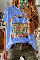 Round Neck Printed   Colour  T-Shirt