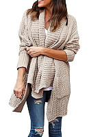 Simple Double Pocket Irregular Lapel Sweater