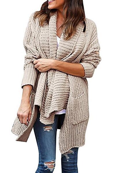 Simple Double Pocket Irregular Lapel Sweater