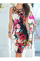 Floral  Blend Bodycon Dress