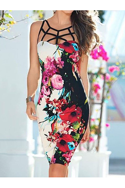 Floral  Blend Bodycon Dress